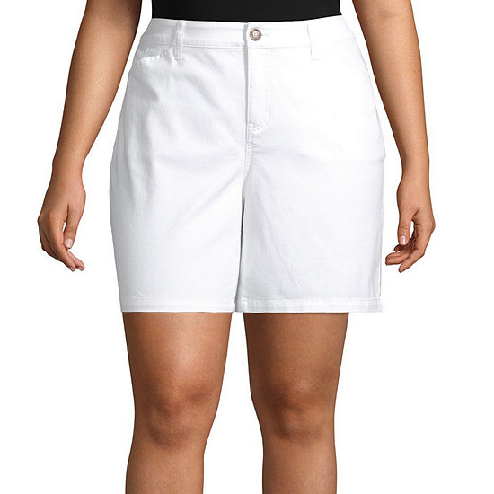 St. John's Bay Womens Mid Rise Chino Short-Plus