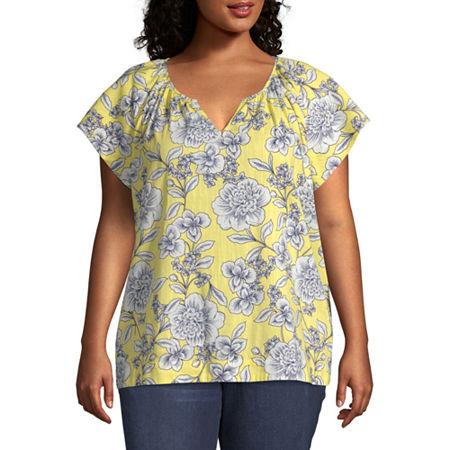 St. John's Bay-Plus Womens Y Neck Short Sleeve Blouse, 0x , Yellow