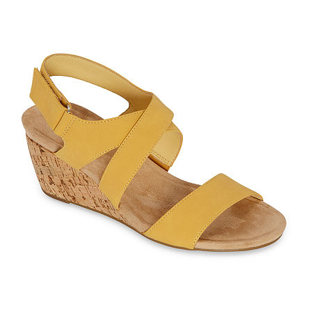 St. John's Bay Womens Pasque Wedge Sandals, 7 1/2 Wide, Yellow
