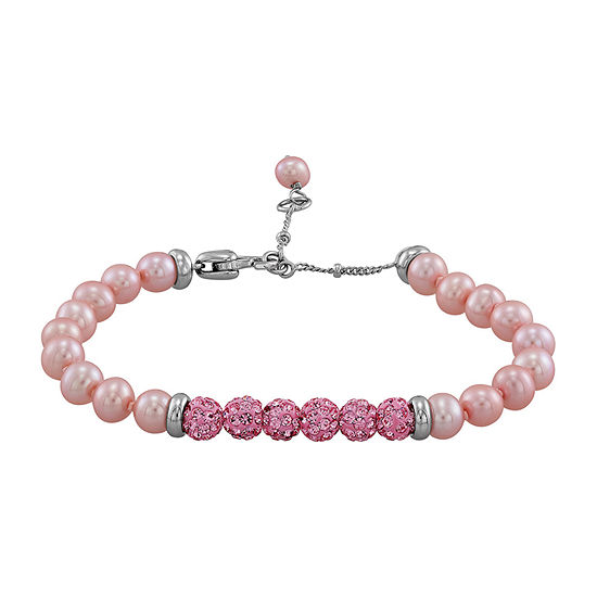 Honora Legacy Dyed Pink Cultured Freshwater Pearl Sterling Silver Beaded Bracelet