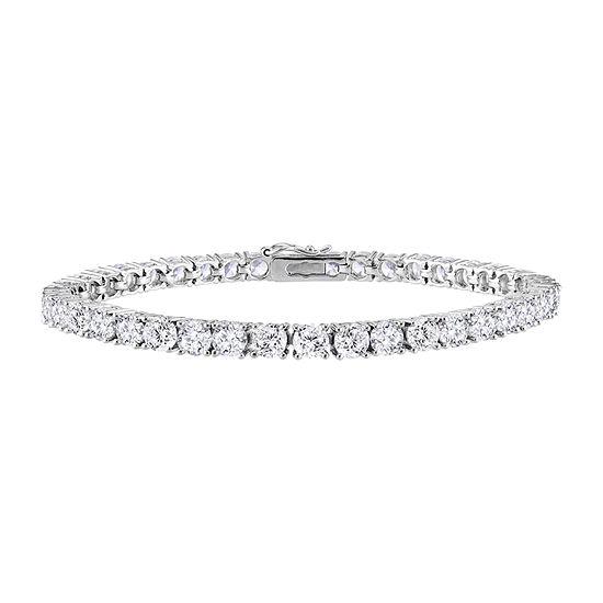 White Cubic Zirconia Sterling Silver 7.25 Inch Tennis Bracelet