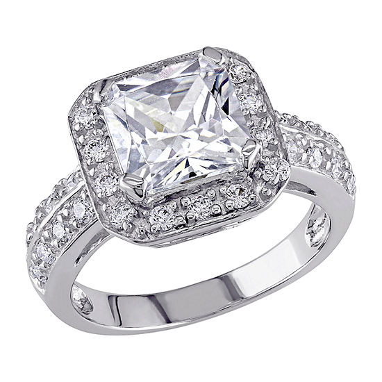 Womens 5 3/4 CT. T.W. White Cubic Zirconia Sterling Silver Engagement Ring