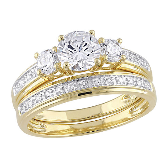 Womens 4 CT. T.W. White Cubic Zirconia 18K Gold Over Silver Ring Sets