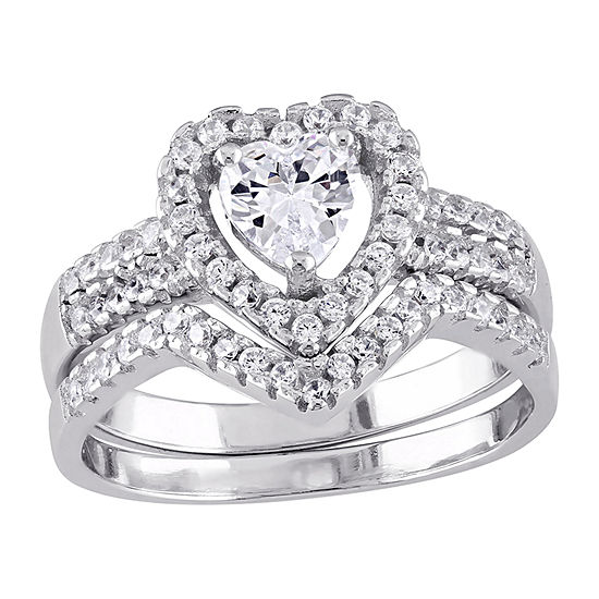 Womens 1 1/3 CT. T.W. White Cubic Zirconia Sterling Silver Heart Ring Sets