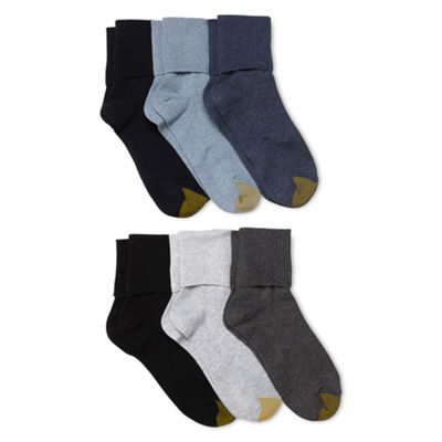 GoldToe® 6-pk. Turn-Cuff Crew Socks - Extended Sizes