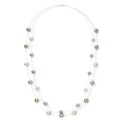 Vieste Rosa Womens Simulated Pearl Round Illusion Necklace