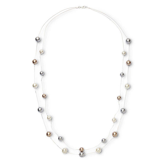Vieste Rosa Simulated Pearl 18 Inch Bead Round Illusion Necklace