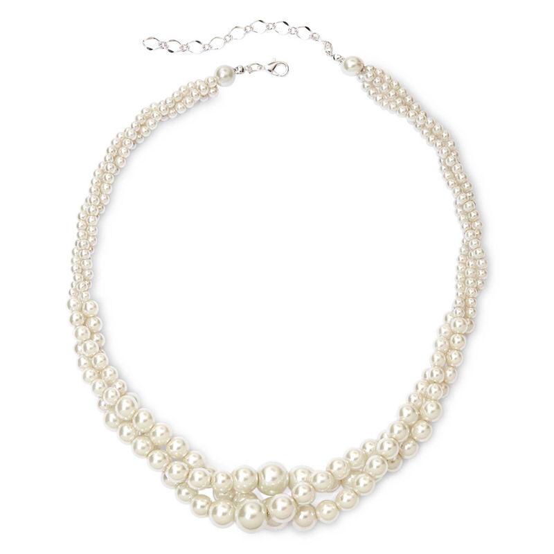 Vieste Silver-Tone Pearlized Glass Bead 3-Row Twist Necklace