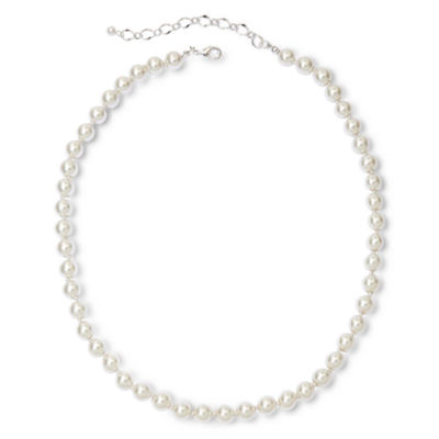 Vieste® Silver-Tone Pearlized Glass Bead Long Necklace