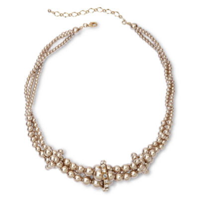 Vieste Silver-Tone Pearlized Glass Bead Twist Necklace