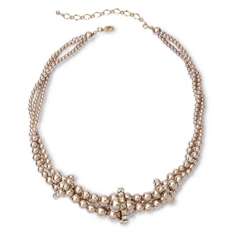 Vieste Silver-Tone Pearlized Glass Bead Twist Necklace