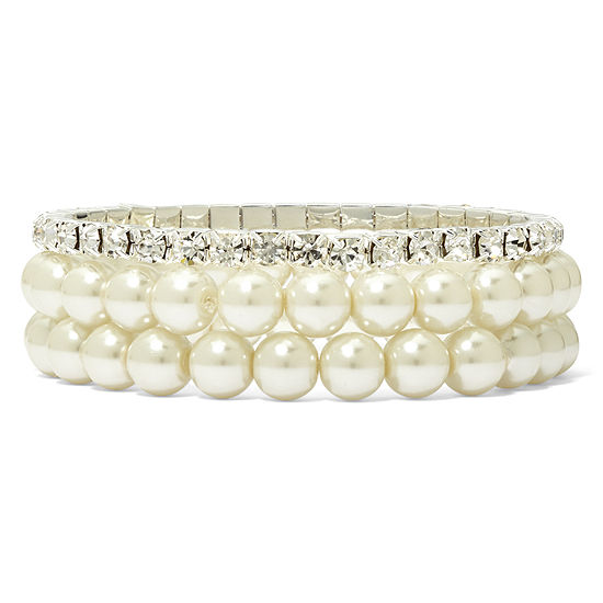 Vieste Silver Tone Pearlized Glass Bead 3 Pc Stretch Bracelet