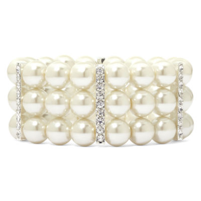 Vieste® Silver-Tone Pearlized Glass Bead 3-Row Stretch Bracelet