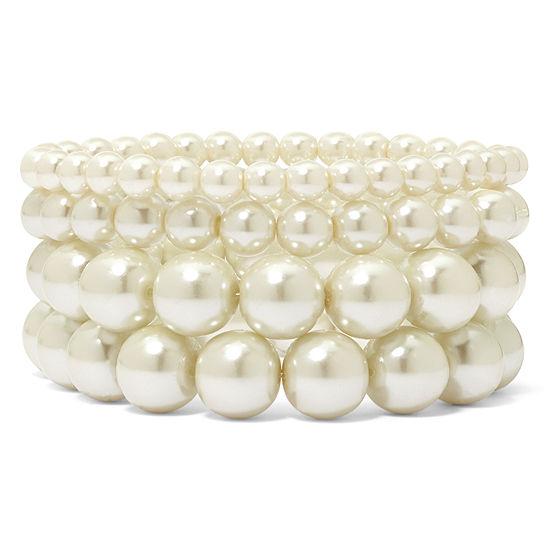 Vieste® 4-pc. Pearlized Glass Bead Stretch Bracelet