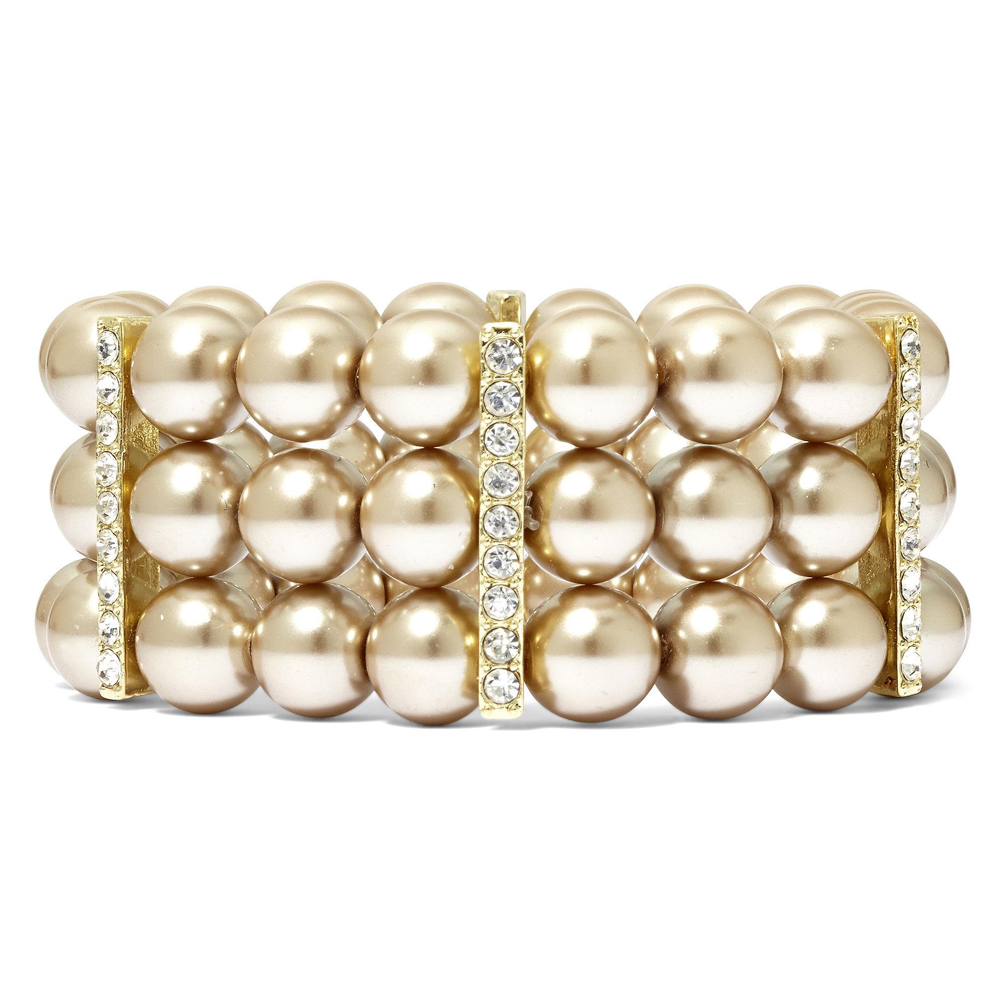 Vieste Silver-Tone Pearlized Glass Bead 3-Row Stretch Bracelet