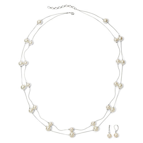 Vieste Silver-Tone Pearlized Glass Bead Necklace and Earring Set
