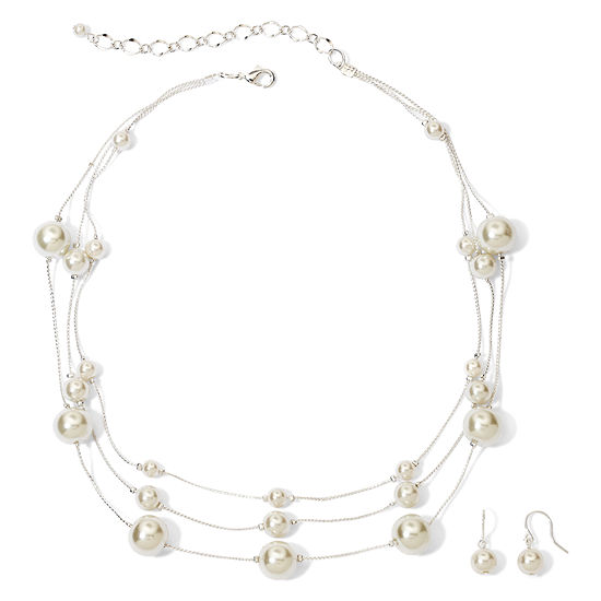 Vieste® Silver-Tone Pearlized Glass Bead 3-Row Necklace and Earring Set