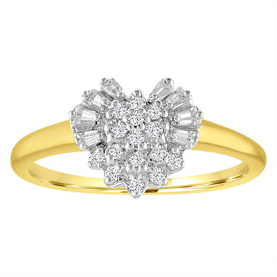 Womens 1/5 CT. T.W. Genuine White Diamond 10K Gold Cocktail Ring