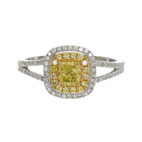 Womens 7/8 CT. T.W. Genuine Princess Yellow Diamond 14K Gold Engagement Ring