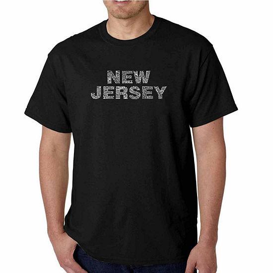 Los Angeles Pop Art New Jersey Neighborhoods ShortSleeve Word Art T-Shirt - Big and Tall