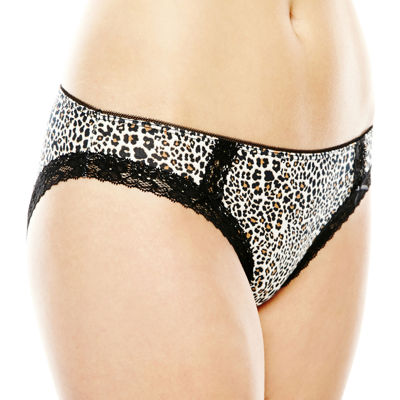 Ambrielle® Lace-Trim Cotton-Blend Bikini Panties