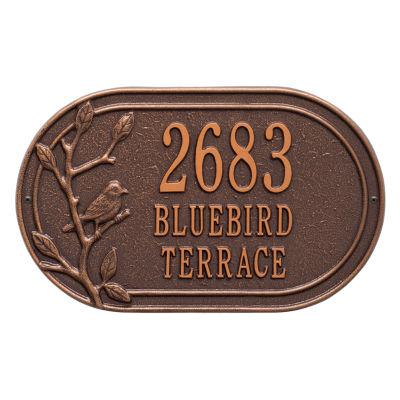 Whitehall Personalized Woodridge Bird Oval Standard Wall Address Plaque - 3 Line