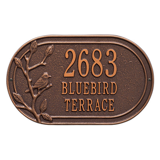 Whitehall Personalized Woodridge Bird Oval Standard Wall Address Plaque - 3 Line