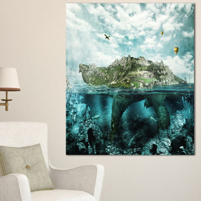 Designart Island Like Large Fantasy Turtle AnimalArt Canvas Print