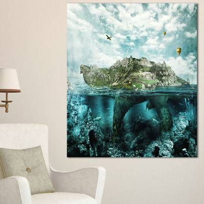Designart Island Like Large Fantasy Turtle AnimalArt Canvas Print - 3 Panels