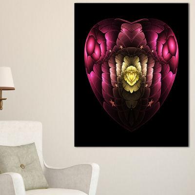 Designart Isolated Heart Digital Art Fractal Flower Floral Canvas Art Print