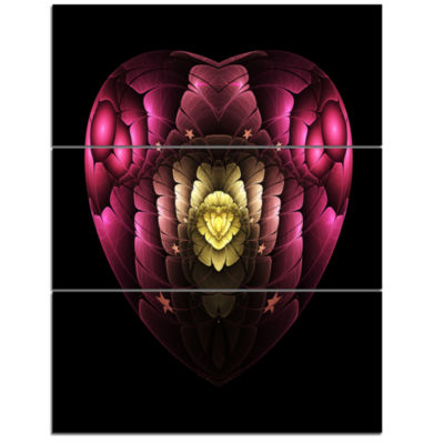 Designart Isolated Heart Digital Art Fractal Flower Floral Triptych Canvas Art Print