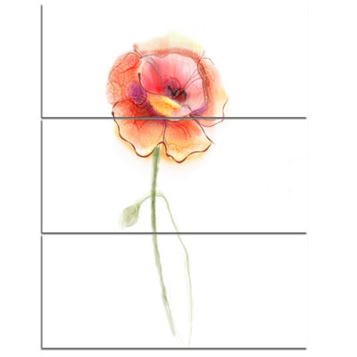 Designart Isolated Watercolor Poppy Flower Large Flower Triptych Canvas Wall Art