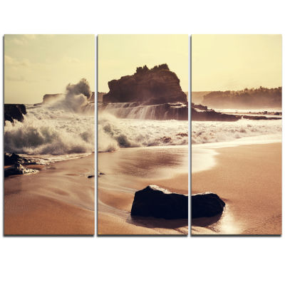 Designart Java Beach With Foaming Waters Large Seashore Triptych Canvas Print