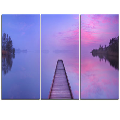 Designart Jetty In A Dawn Lake Wooden Sea Bridge Triptych Canvas Wall Art