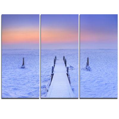 Designart Jetty In Frozen Lake Netherlands WoodenSea Bridge Triptych Canvas Wall Art