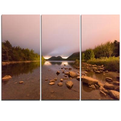 Designart Jordan Pond In Acadia Park ContemporaryLandscape Triptych Canvas Art