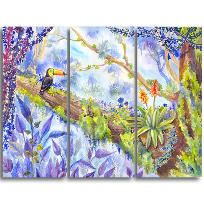 Design Art Jungle With Bird Toucan On Tree Extra Large Wall Art Landscape