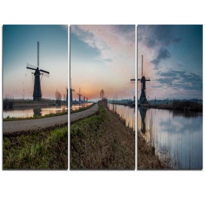 Designart Kinderijk Holland Panorama Landscape Artwork Triptych Canvas