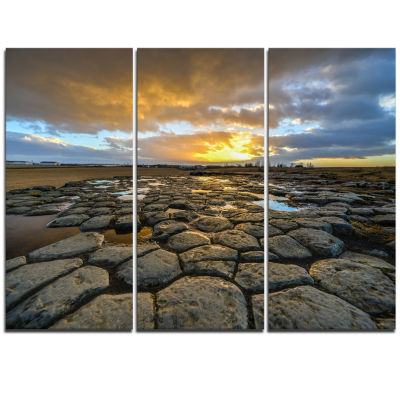 Designart Kirkjugolf Church Floor At Sunrise Seascape Triptych Canvas Art Print