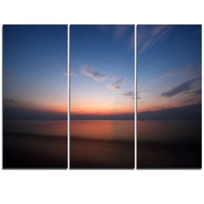 Designart Ko Samui Sea Sunrise Panorama OversizedBeach Triptych Canvas Artwork