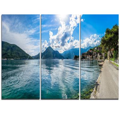 Designart Kotor Bay On Summer Day Panorama Landscape Triptych Canvas Art Print