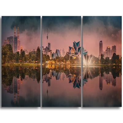 Designart Kula Lumpur Night Scenery Landscape Triptych Canvas Art Print
