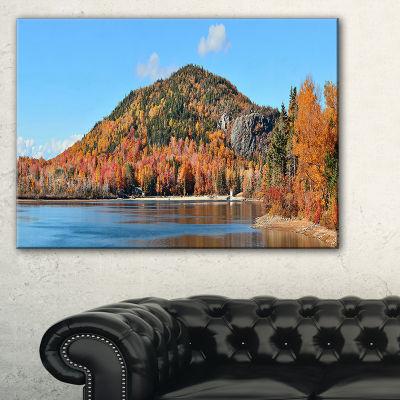 Designart Lake And Beautiful Autumn Foliage Landscape Artwork Canvas
