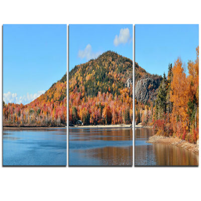Designart Lake And Beautiful Autumn Foliage Landscape Artwork Triptych Canvas