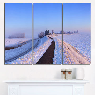 Designart Lake And Dike At Sunrise Panorama Landscape Triptych Canvas Art Print