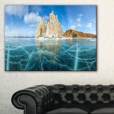 Designart Lake Baikal Ice And Rocks Panorama LargeSeascape Art Canvas Print
