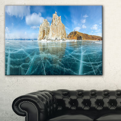 Designart Lake Baikal Ice And Rocks Panorama LargeSeascape Art Canvas Print