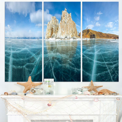 Designart Lake Baikal Ice And Rocks Panorama LargeSeascape Art Triptych Canvas Print