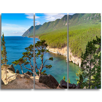 Designart Lake Baikal On Summer Day Landscape Triptych Canvas Art Print