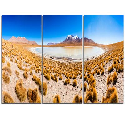 Designart Lake Bolivia Altipalno Panorama Modern Seascape Triptych Canvas Artwork